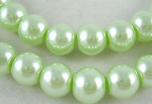 Glass Pearl Beads Pale Green 4mm
